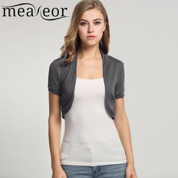 Meaneor Knitted Cardigan Pleated Sides Womens Jacket Crop Top Bolero Shrug Open front design Plus size Crop cardigans