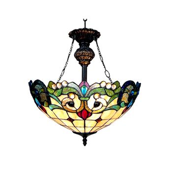 "DULCE Tiffany-style 2 Light Victorian Ceiling Pendant 18"" Shade"