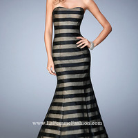 Black and Nude Strapless La Femme Dress