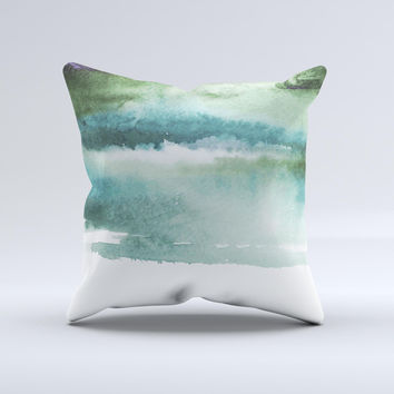 The Greenish Watercolor Strokes ink-Fuzed Decorative Throw Pillow