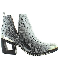 Jeffrey Campbell Optimum - Black/White Snake Leather Studded Fancy Western Bootie