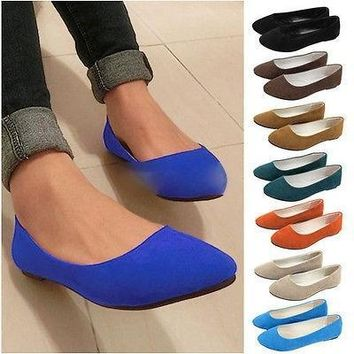 New Women Ladies Girls Ballerina Loafers Flats Ballet Casual Slip On Single Flat Candy Shoes = 1958338692