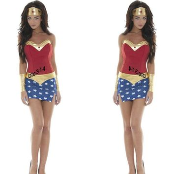 Adult Anime Superhero Wonder Woman Costume with Cloak Cosplay For  Girl Halloween Masquerade Fancy Dresses Party Free Size