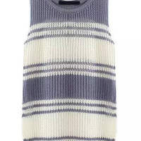 Grey White Sleeveless Striped Knit Sweater