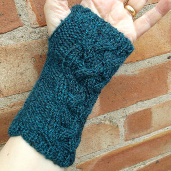 Blue Lattice Cable wrist warmers - women/teens - soft acrylic yarn - festival/cool evenings/autumn/gift - one size