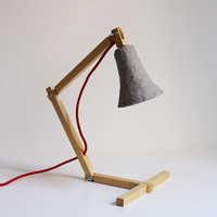 """Wooden desk lamp """"MetamorfozisII No14"""", paper mache desk lamp, paper pulp lamp, plaster shade, paper pulp shade, table lamp, modern, eco"""