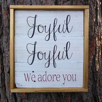 "Joyful Island Creations ""Joyful, joyful we adore him"" wood sign, rustic christmas sign, gold christmas decor, reclaimed wood sign"