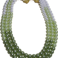 Pistachio Color Pearl Necklace in Three Strands of Graded Color Pearls & Beautiful Vintage Clasp
