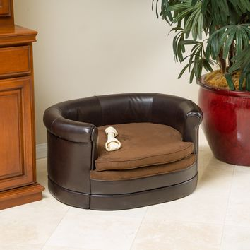 Rover Oval Chocolate Brown Leather Dog Sofa Bed