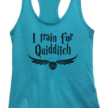 Womens I Train For Quidditch Grapahic Design Fitted Tank Top