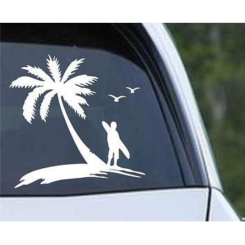 Surf's Up Palm Tree Hawaii Island Die Cut Vinyl Decal Sticker