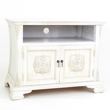 White Vintage Medallion TV Stand