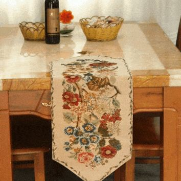 Tache Colorful Floral Country Rustic Morning Meadow  Woven Table Runner (DSC3098)