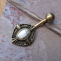 White Turquoise Gold Belly Button Ring