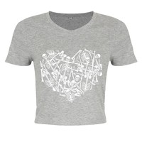 Unorthodox Skeleton Heart Ladies Grey Crop Top