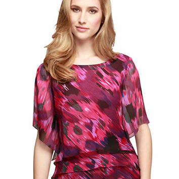Alex Evenings Abstract Print Triple Tier Blouse