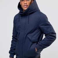 ASOS Hooded Jacket With Fleece Lined Hood In Navy