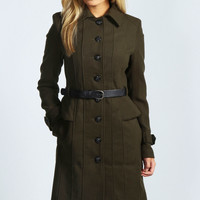 Willow Belted Peplum Military Coat