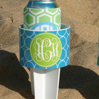 Monogrammed Beach Drink Holder and Coordinating Koozie SET