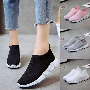 2018 New Outdoors Adults Trainers Running Shoes Woman Sock Footwear Sport Athletic Unisex Breathable Mesh Female Sneakers #2a#F