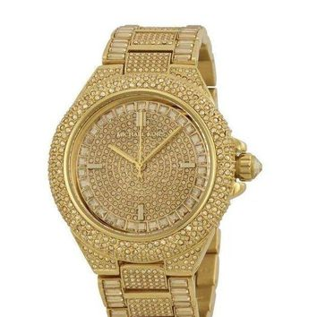 CREYDC0 Michael Kors Camille Gold Pave Dial Stainless Steel Quartz Ladies Watch MK5720
