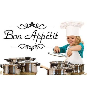 ONETOW 1PC Vinyl Wall Stickers Quote Bon Appetit Dinning Room Decor Kitchen Decals Art