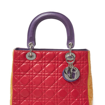 Christian Dior Women's Tricolor Cannage Quilted Leather Lady Dior Medium
