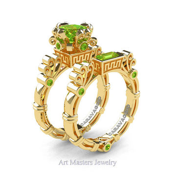 Art Masters Caravaggio 14K Yellow Gold 1.5 Ct Princess Peridot Engagement Ring Wedding Band Set R627S-14KYGP