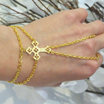Gold Cross Slave Bracelet, Bracelet Ring, Gold Plated, Religious, Christian, Religious Bracelet, Cross Jewelry, Beach Jewelry, Hand Jewelry