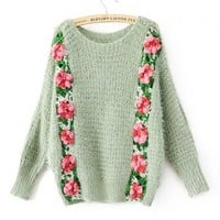 Green Fluffy Jumper with Batwing Sleeve and Knitted Flower Detail