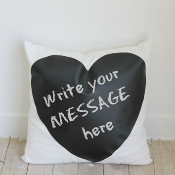 Reusable Chalkboard Pillow, write your own message Chalkboard Cushion cover, bedroom decor, gift for him, her, christmas decor, black white