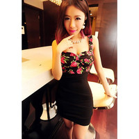 Black Flowers Pattern Ruffled Strappy Chiffon Dress