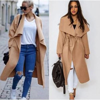 WOMEN DENIM TRENCH COAT HOODIE OUTERWEAR JACKETS C169