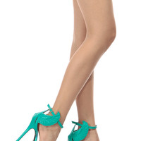 Teal Faux Leather Wing Accent Ankle Strap Heels