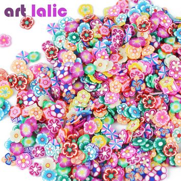 Artlalic 1000pcs/Bag 3D Tiny Cute Nails Art Accessories Star/Ribbon/Flower/Fruit/Feather Fimo Slices Slicing Nail Decorations