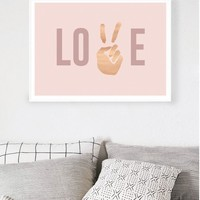 Peace & Love Rose Gold Foil Print by Hunters & Gatherers | Art - Hunters and Gatherers
