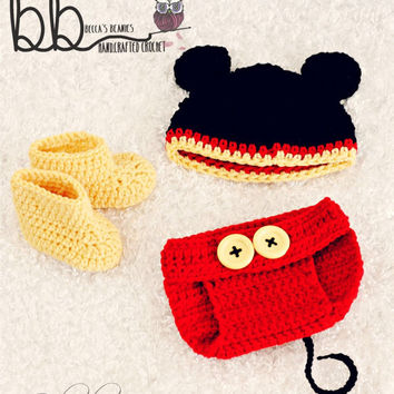 Newborn Combo pack - Minnie & Mickey Mouse 3 piece sets - crochet