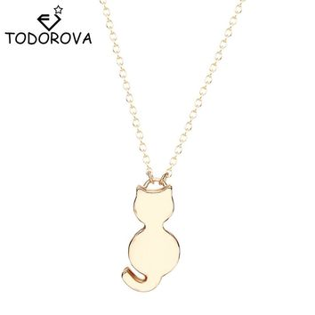 Silver Plated or Gold Tone Cute Cat Pendant Necklace