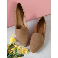 Vegan Suede Pointy Toe Flat Loafer Shoes