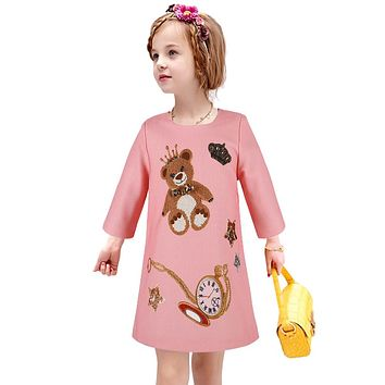 Princess Dress Girls Clothes 2016 Winter Brand Girls Christmas Dress Children Teddy Bear Print Long Sleeve Girl Dresses Kids