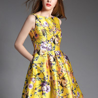 Yellow Floral Sleeveless High Waist A-Line Pleated Mini Dress