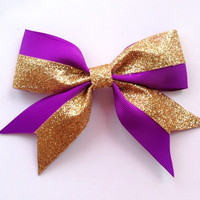 Purple and Gold Glitter Hair Bow Grosgrain Pinwheel 5.5 Inch