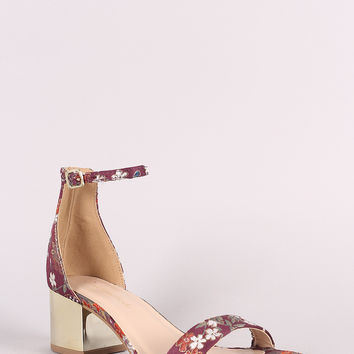 Embroidery Floral Ankle Strap Metallic Block Heel | UrbanOG
