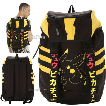 Licensed cool Pokemon GO PIKACHU Canvas Rucksack School Backpack Book Bag Pack Laptop Sleeve