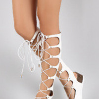 Women's Studded Gladiator Lace Up Footbed Platform Wedge Sandal