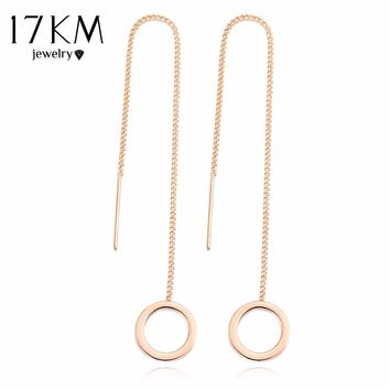 17KM Vintage Punk Silver Color Long Tassel Dangle Earrings for Women Gold Color Alloy Round Drop Bar Statement Jewelry