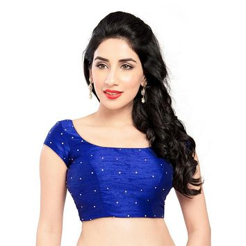 Designer Indian Traditional Royal-Blue Dupion Silk Padded  Half Sleeves Saree Blouse Choli (X-202Sl)
