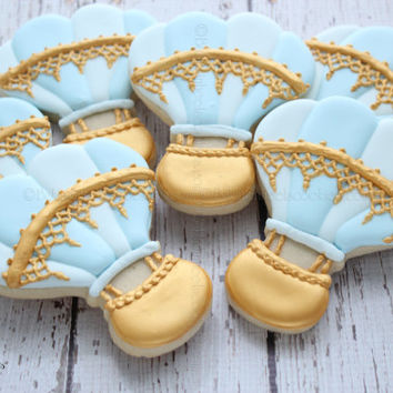 Hot Air Balloon Cookies With Gold Lace Details, First Birthday Cookies, Baby Shower Cookies,Gold Hand Painted Cookies, Baby Cookies