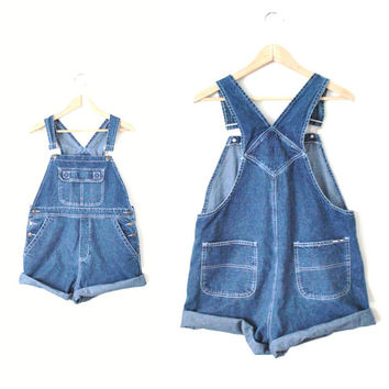 early 90s GRUNGE overalls / vintage 1990s Urban Star dark DENIM dungarees CLUB kid jean shortalls / overall shorts os relaxed fit