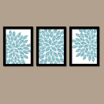 GLITTER Glam Aqua Blue Bold Flower Burst Dahlia Bloom Artwork Set of 3 Trio Prints WALL Decor Abstract ART Picture Bedroom Bathroom